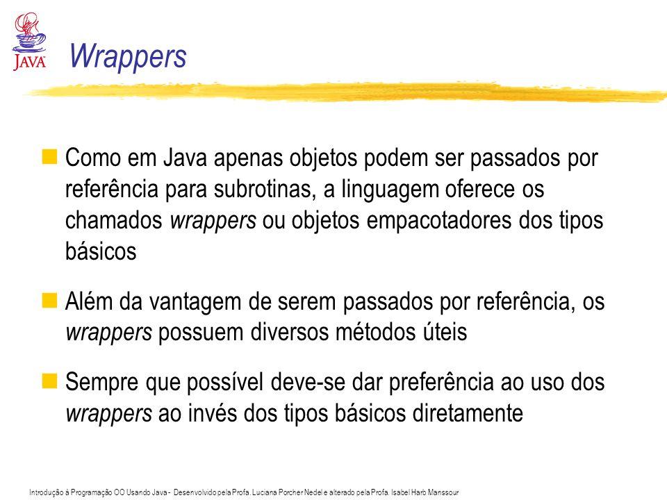 Introdução à Programação OO Usando Java - Desenvolvido pela Profa. Luciana Porcher Nedel e alterado pela Profa. Isabel Harb Manssour Wrappers Como em