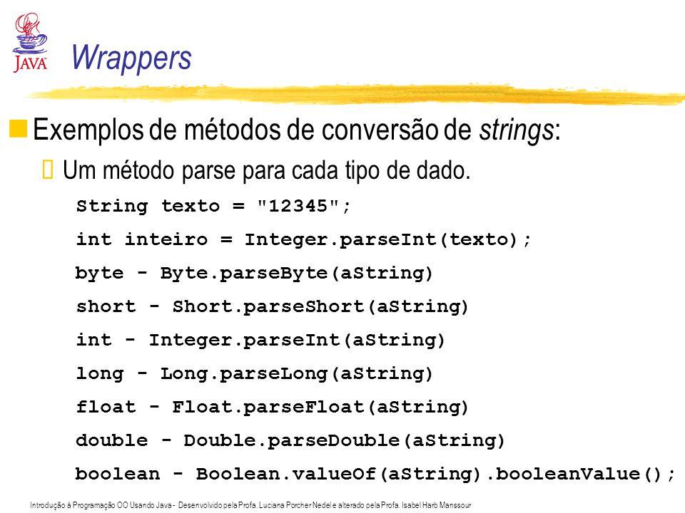 Introdução à Programação OO Usando Java - Desenvolvido pela Profa. Luciana Porcher Nedel e alterado pela Profa. Isabel Harb Manssour Wrappers Exemplos