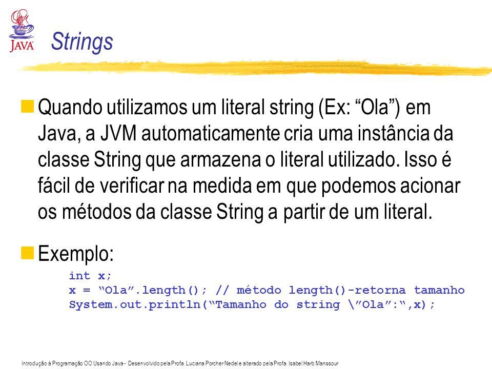 Introdução à Programação OO Usando Java - Desenvolvido pela Profa. Luciana Porcher Nedel e alterado pela Profa. Isabel Harb Manssour Quando utilizamos