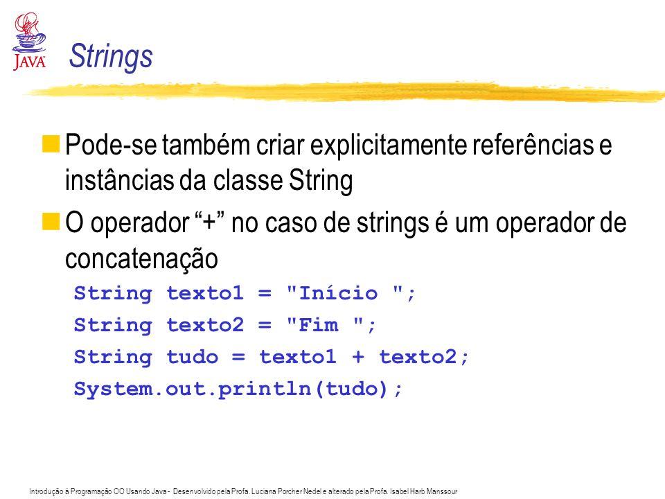 Introdução à Programação OO Usando Java - Desenvolvido pela Profa. Luciana Porcher Nedel e alterado pela Profa. Isabel Harb Manssour Pode-se também cr