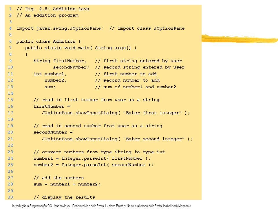 Introdução à Programação OO Usando Java - Desenvolvido pela Profa. Luciana Porcher Nedel e alterado pela Profa. Isabel Harb Manssour 1// Fig. 2.8: Add