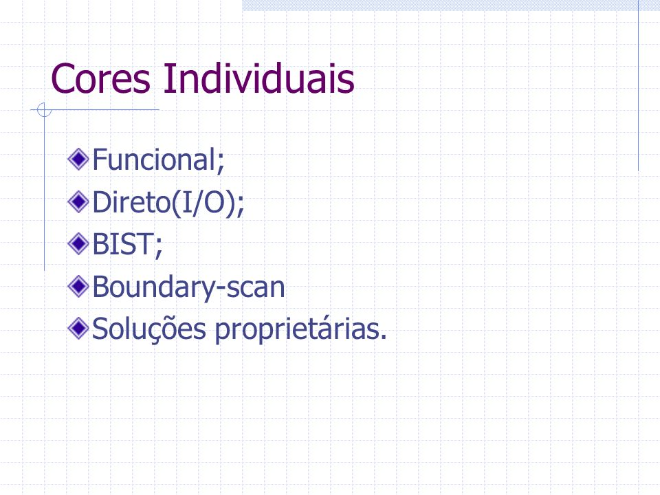 Dificuldades no Teste de SoCs Verificação de Timing; Falta de scan ou BIST; Pinos embarcados; Confiabilidade; Controlabilidade; Observabilidade; Integração; Reuso do teste.