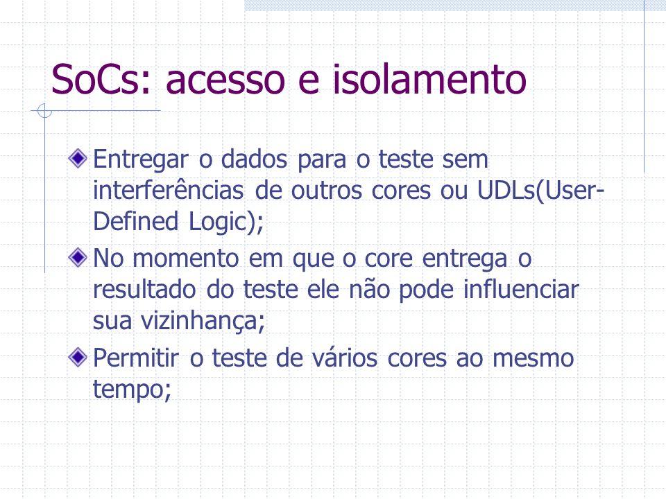 SoCs: acesso e isolamento Permitir a verificação dos fios que interconectam os cores; Deve ser baseado em um a metodologia simples que garanta que o core possa ser testado sem implicar restrições a sua vizinhança.