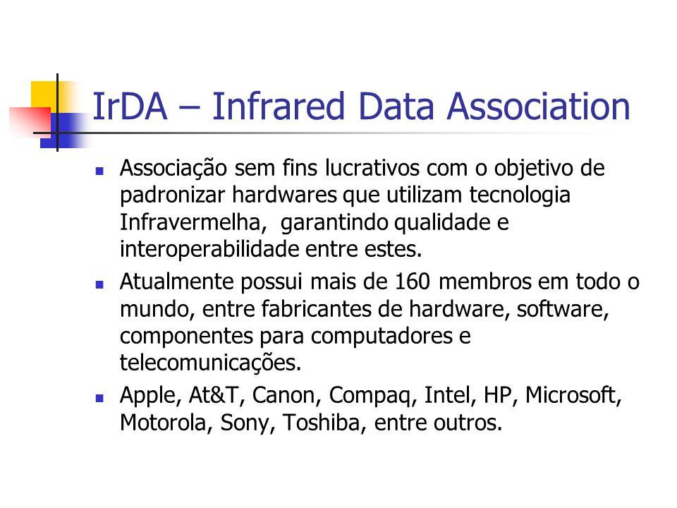 IrDA – Infrared Data Association Associação sem fins lucrativos com o objetivo de padronizar hardwares que utilizam tecnologia Infravermelha, garantin