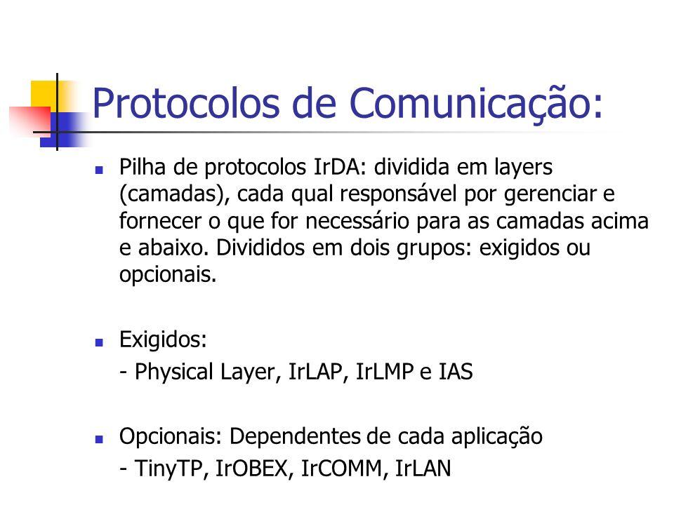 Protocolos de Comunicação: Pilha de protocolos IrDA: dividida em layers (camadas), cada qual responsável por gerenciar e fornecer o que for necessário