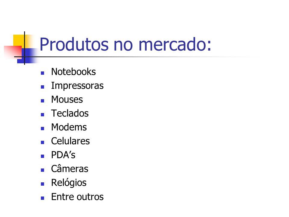 Produtos no mercado: Notebooks Impressoras Mouses Teclados Modems Celulares PDAs Câmeras Relógios Entre outros