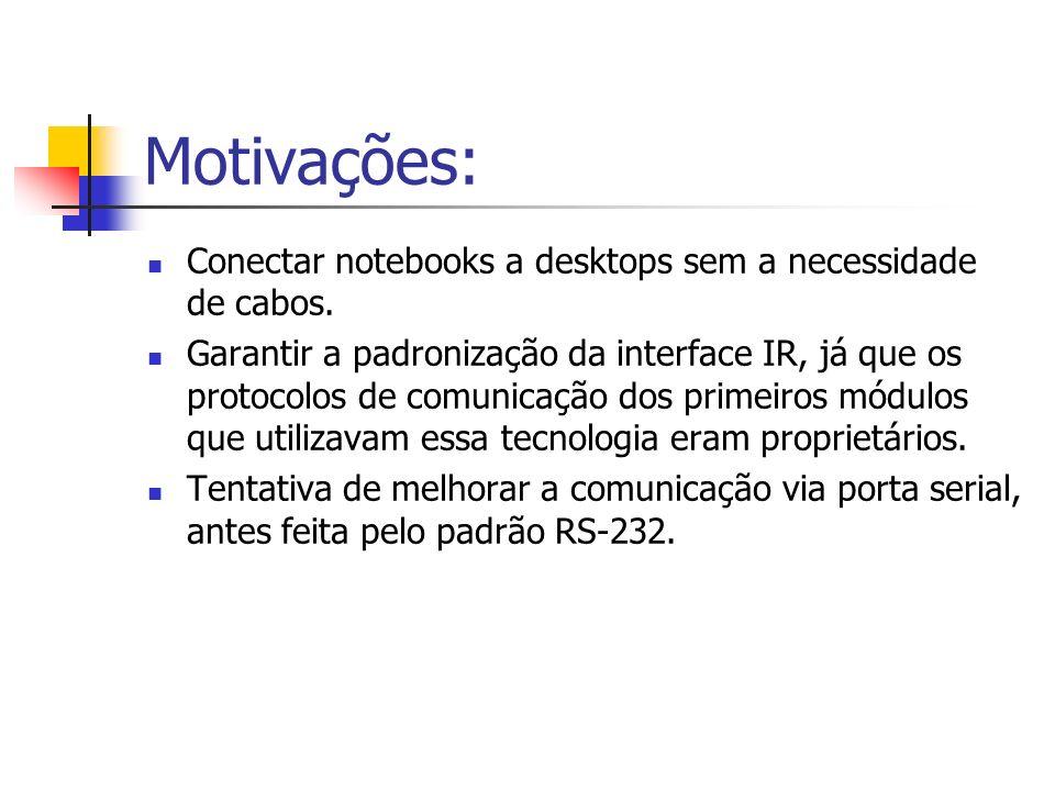 Motivações: Conectar notebooks a desktops sem a necessidade de cabos. Garantir a padronização da interface IR, já que os protocolos de comunicação dos