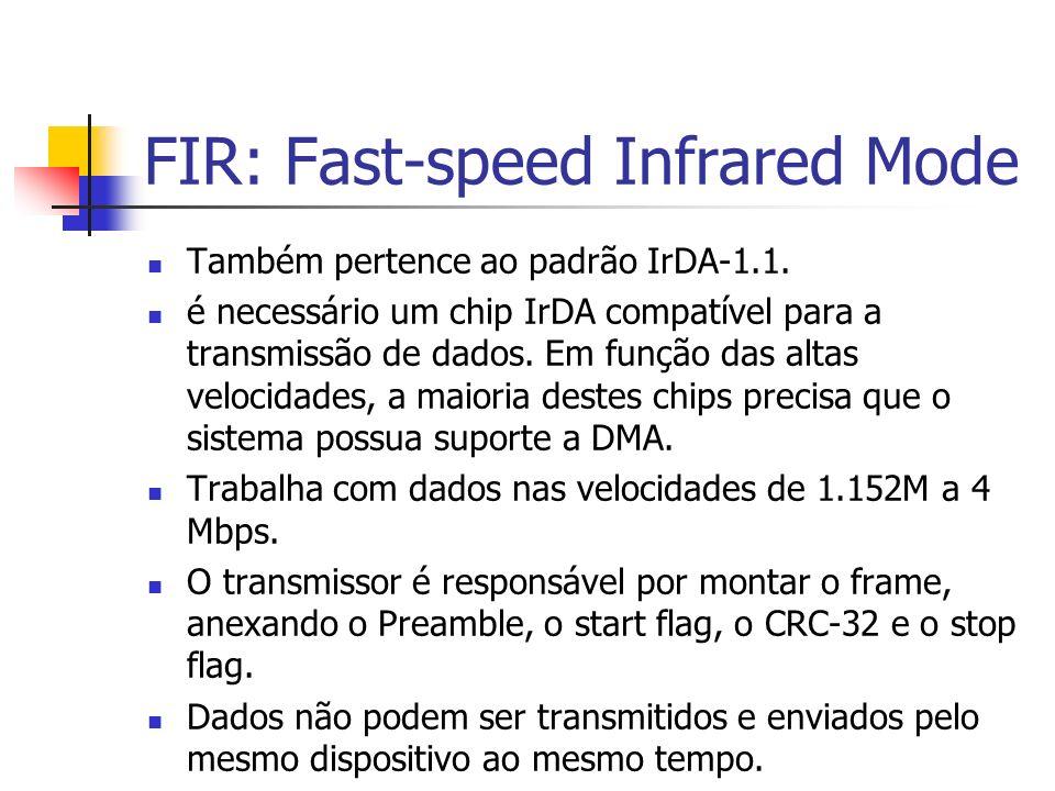 FIR: Fast-speed Infrared Mode Também pertence ao padrão IrDA-1.1. é necessário um chip IrDA compatível para a transmissão de dados. Em função das alta