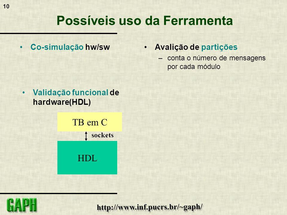 10 Possíveis uso da Ferramenta Co-simulação hw/swAvalição de partições –conta o número de mensagens por cada módulo TB em C HDL Validação funcional de