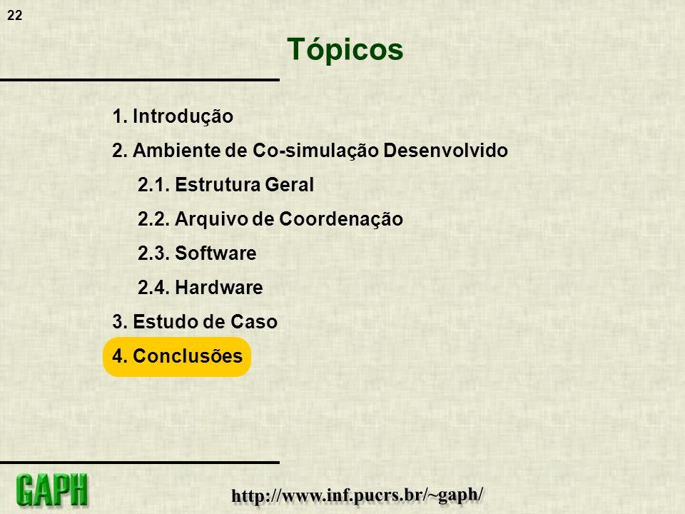 22 1. Introdução 2. Ambiente de Co-simulação Desenvolvido 2.1. Estrutura Geral 2.2. Arquivo de Coordenação 2.3. Software 2.4. Hardware 3. Estudo de Ca