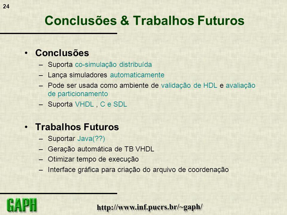 24 Conclusões & Trabalhos Futuros Conclusões –Suporta co-simulação distribuída –Lança simuladores automaticamente –Pode ser usada como ambiente de val