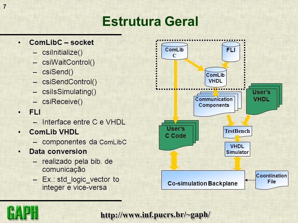 7 Estrutura Geral ComLibC – socket –csiInitialize() –csiWaitControl() –csiSend() –csiSendControl() –csiIsSimulating() –csiReceive() FLI –Interface ent