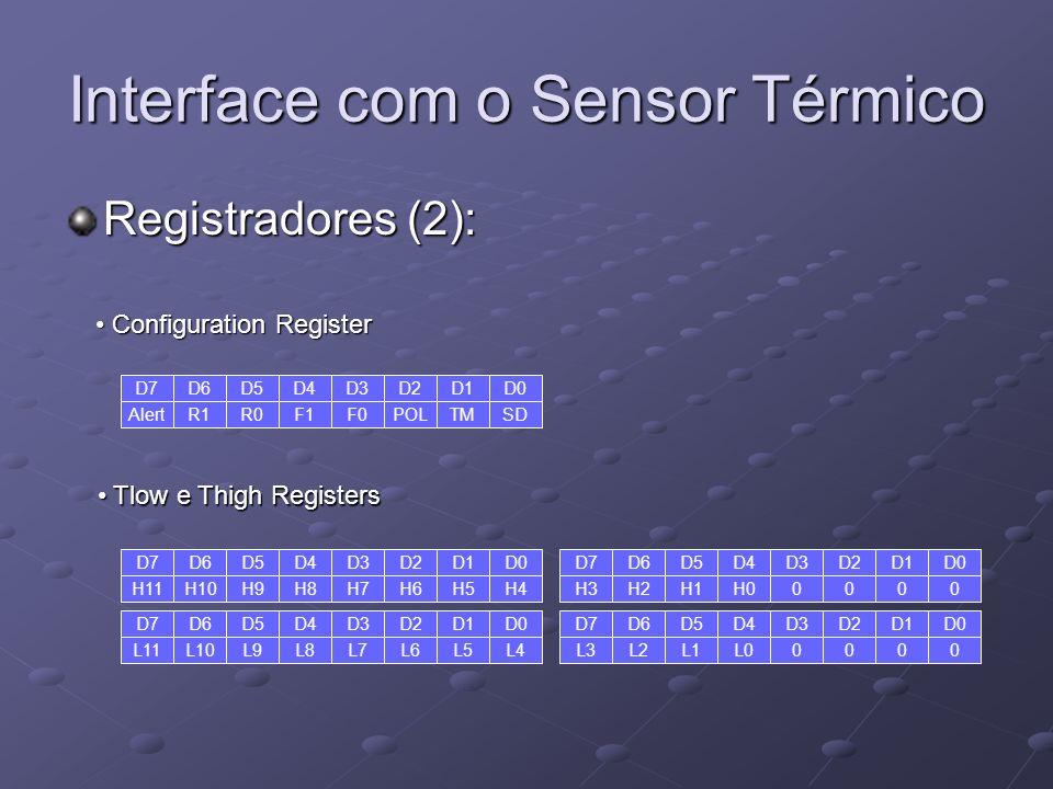 Interface com o Sensor Térmico Registradores (2): D7 Alert D5 R0 D6 R1 D4 F1 D3 F0 D1 TM D2 POL D0 SD D7 H11 D5 H9 D6 H10 D4 H8 D3 H7 D1 H5 D2 H6 D0 H