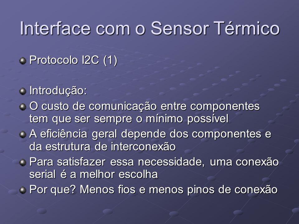Interface com o Sensor Térmico Protocolo I2C (1) Introdução: O custo de comunicação entre componentes tem que ser sempre o mínimo possível A eficiênci