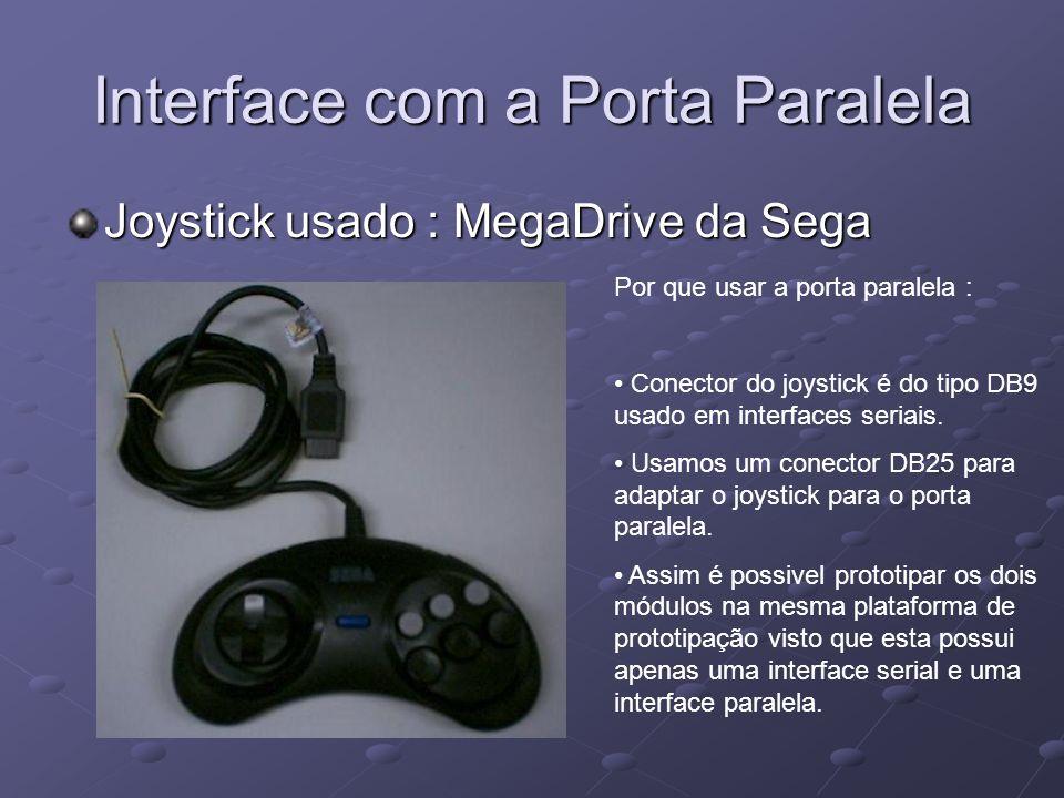 Interface com a Porta Paralela Joystick usado : MegaDrive da Sega Por que usar a porta paralela : Conector do joystick é do tipo DB9 usado em interfac