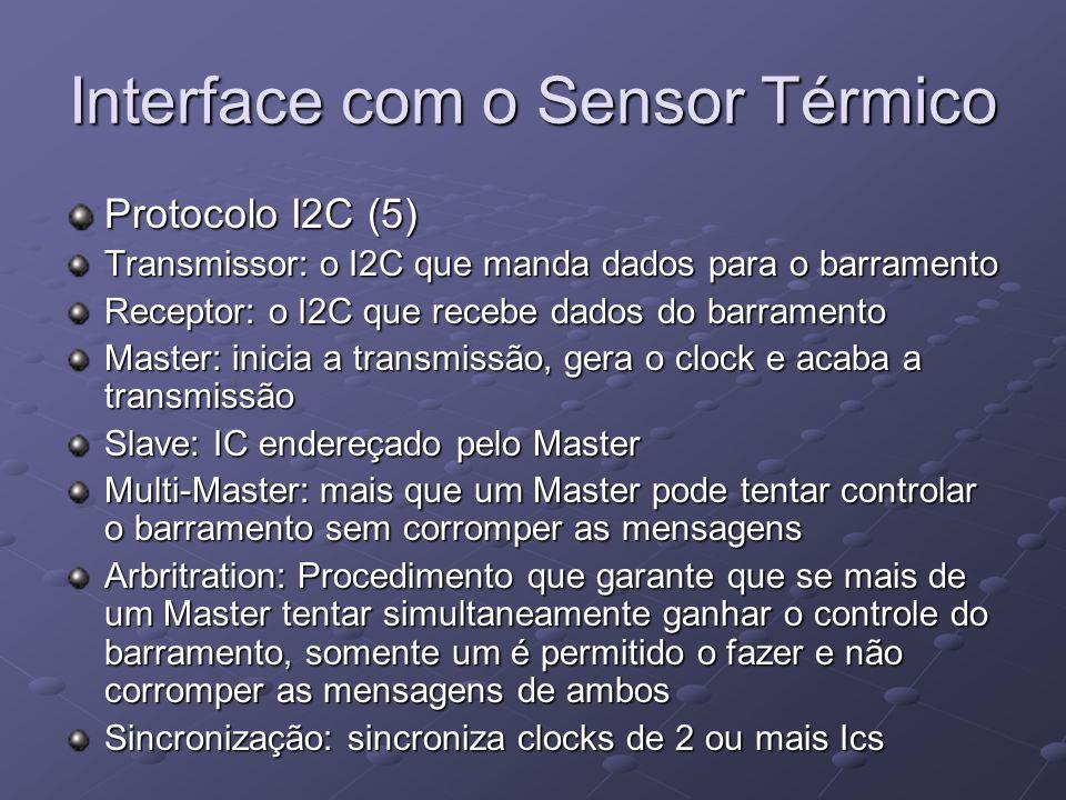 Interface com o Sensor Térmico Protocolo I2C (5) Transmissor: o I2C que manda dados para o barramento Receptor: o I2C que recebe dados do barramento M