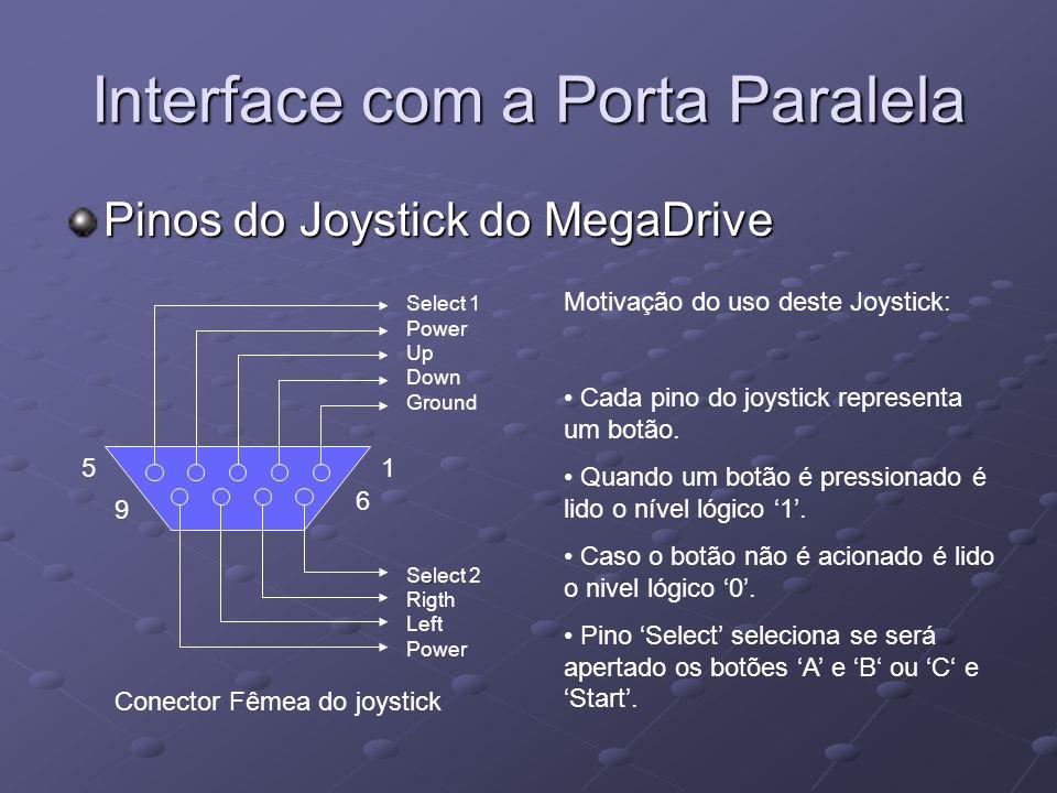 Interface com a Porta Paralela Pinos do Joystick do MegaDrive 1 6 9 5 Select 1 Power Up Down Ground Select 2 Rigth Left Power Motivação do uso deste J