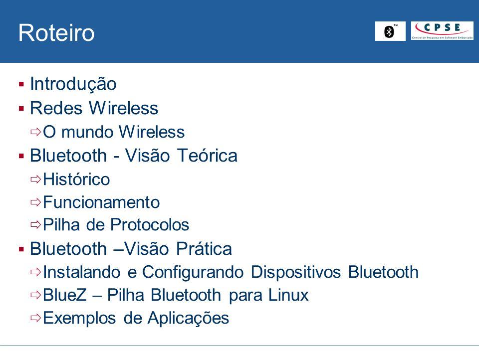 Bluetooth – Perfis Uso Específico Headset Profile: Input/output remoto Áudio Fax Profile: Fax modem sem fio Manda/recebe msg Cordless Telephony Profile : Gateway de telefonia Intercom Profile: walkie-talkie