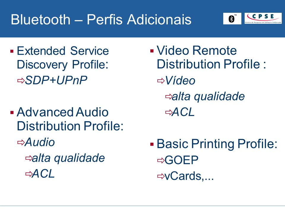 Bluetooth – Perfis Adicionais Video Remote Distribution Profile : Vídeo alta qualidade ACL Basic Printing Profile: GOEP vCards,... Extended Service Di
