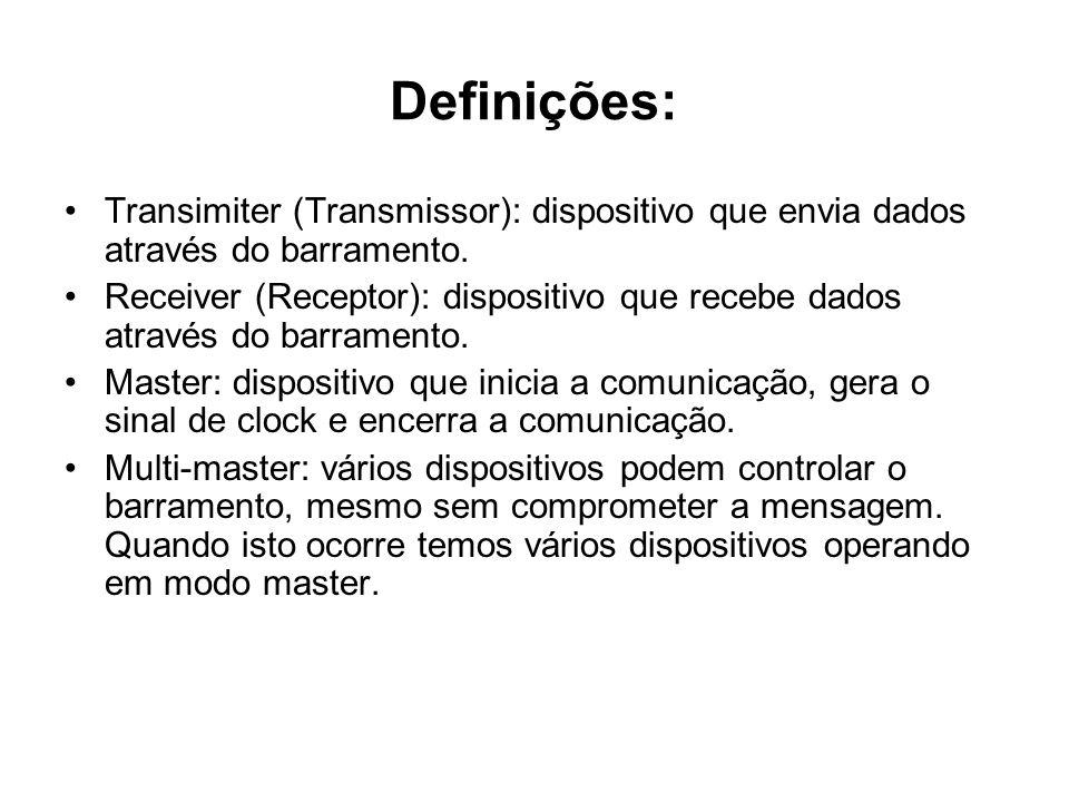 Definições: Transimiter (Transmissor): dispositivo que envia dados através do barramento. Receiver (Receptor): dispositivo que recebe dados através do