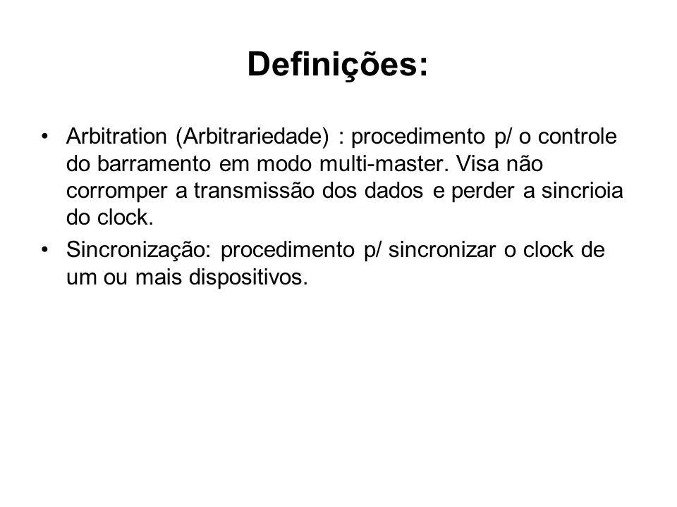 Definições: Arbitration (Arbitrariedade) : procedimento p/ o controle do barramento em modo multi-master. Visa não corromper a transmissão dos dados e