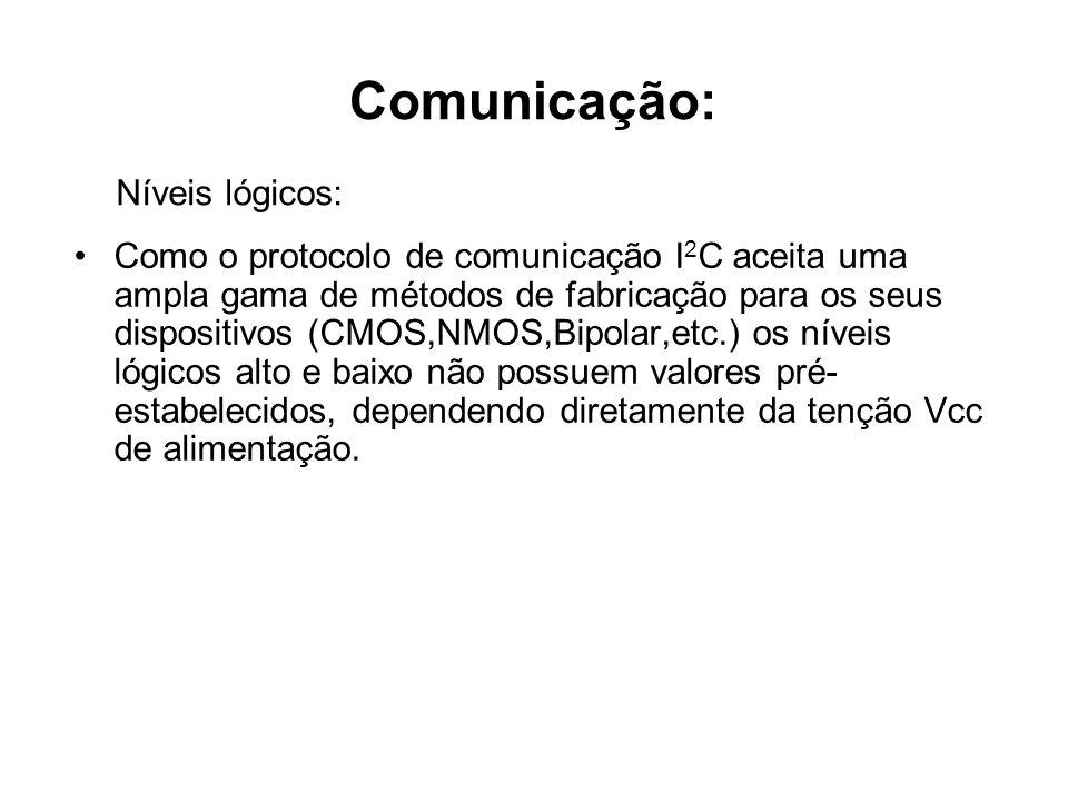 Comunicação: Como o protocolo de comunicação I 2 C aceita uma ampla gama de métodos de fabricação para os seus dispositivos (CMOS,NMOS,Bipolar,etc.) o
