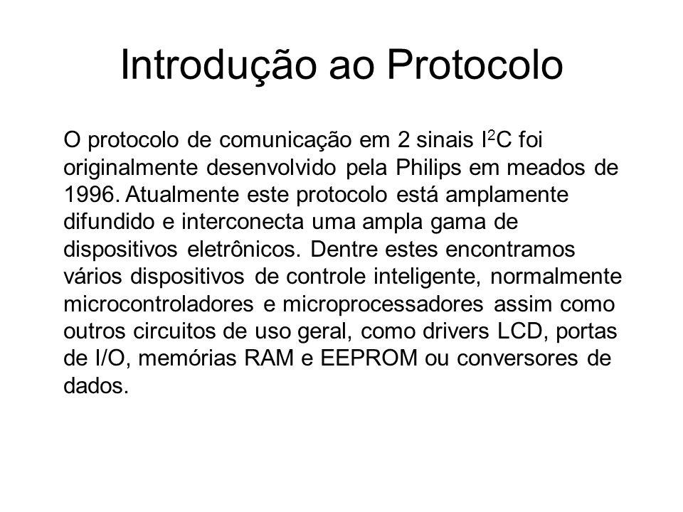 Introdução ao Protocolo O protocolo de comunicação em 2 sinais I 2 C foi originalmente desenvolvido pela Philips em meados de 1996. Atualmente este pr