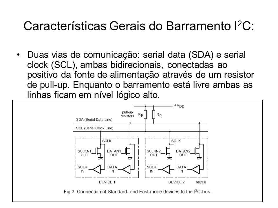 Características Gerais do Barramento I 2 C: Duas vias de comunicação: serial data (SDA) e serial clock (SCL), ambas bidirecionais, conectadas ao posit