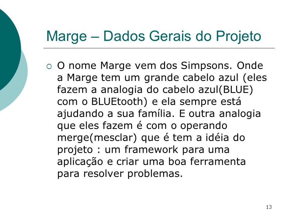13 Marge – Dados Gerais do Projeto O nome Marge vem dos Simpsons. Onde a Marge tem um grande cabelo azul (eles fazem a analogia do cabelo azul(BLUE) c