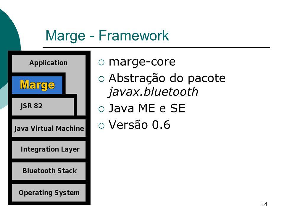 14 Marge - Framework marge-core Abstração do pacote javax.bluetooth Java ME e SE Versão 0.6