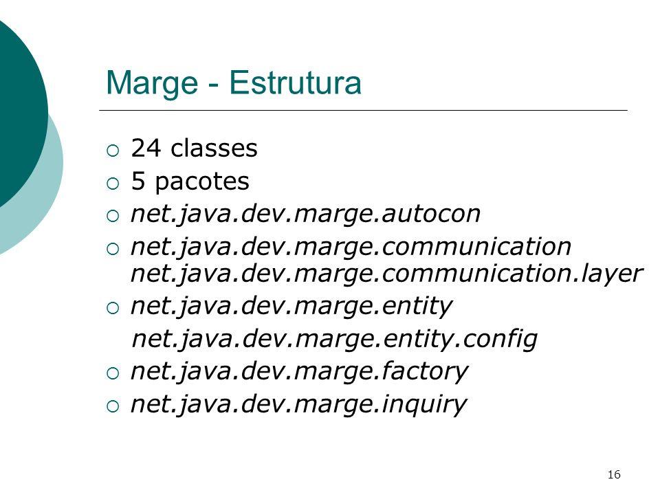 16 Marge - Estrutura 24 classes 5 pacotes net.java.dev.marge.autocon net.java.dev.marge.communication net.java.dev.marge.communication.layer net.java.