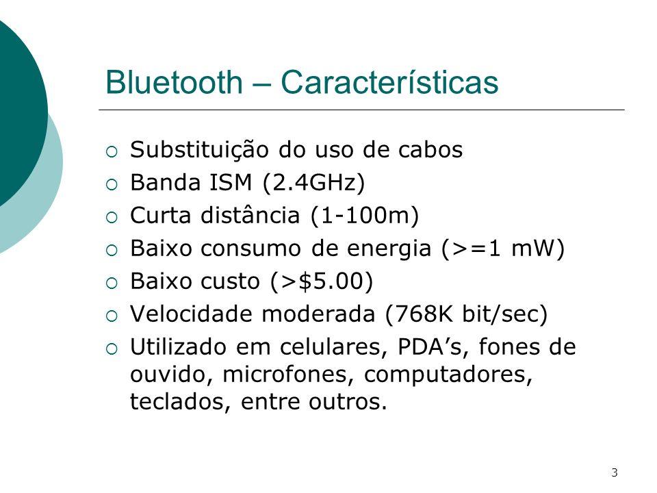 3 Bluetooth – Características Substituição do uso de cabos Banda ISM (2.4GHz) Curta distância (1-100m) Baixo consumo de energia (>=1 mW) Baixo custo (