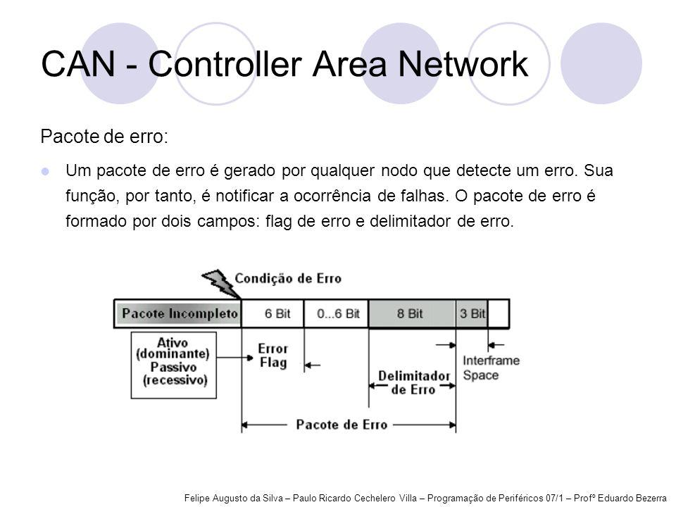 CAN - Controller Area Network Pacote de erro: Um pacote de erro é gerado por qualquer nodo que detecte um erro. Sua função, por tanto, é notificar a o