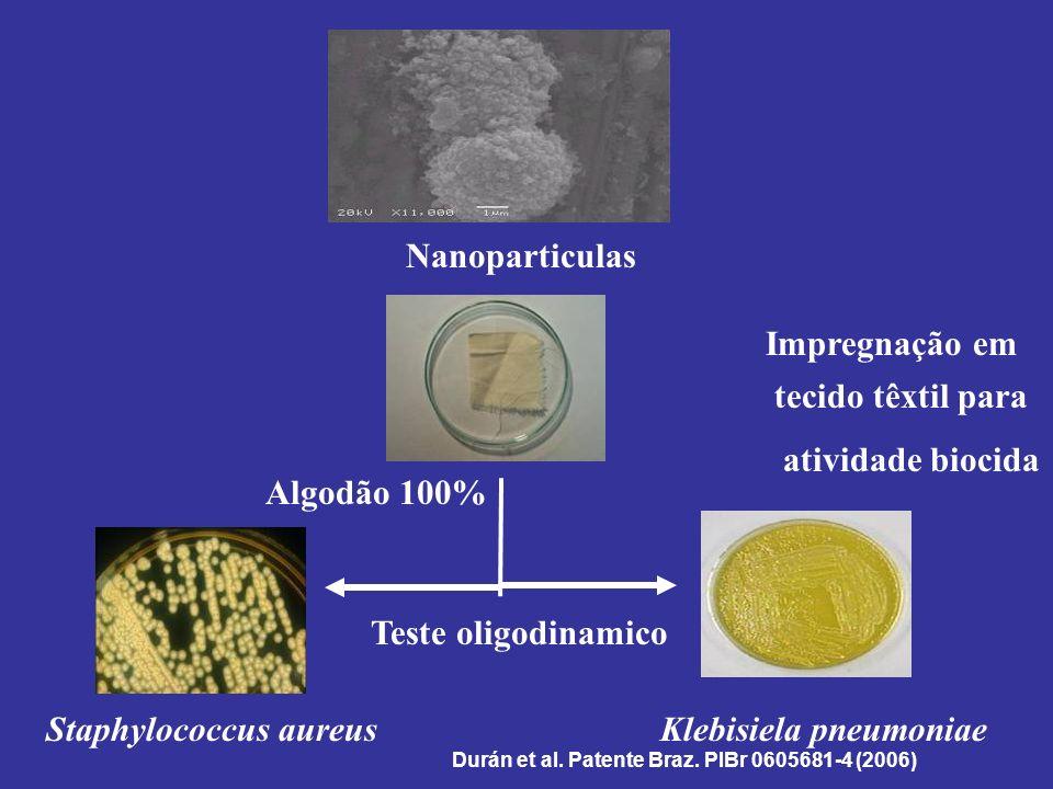 Staphylococcus aureusKlebisiela pneumoniae Algodão 100% Nanoparticulas Impregnação em tecido têxtil para atividade biocida Teste oligodinamico Durán e
