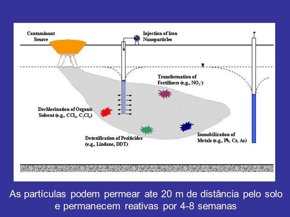 As partículas podem permear ate 20 m de distância pelo solo e permanecem reativas por 4-8 semanas