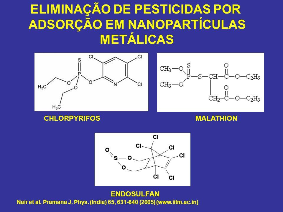 CHLORPYRIFOSMALATHION ENDOSULFAN ELIMINAÇÃO DE PESTICIDAS POR ADSORÇÃO EM NANOPARTÍCULAS METÁLICAS Nair et al. Pramana J. Phys. (India) 65, 631-640 (2