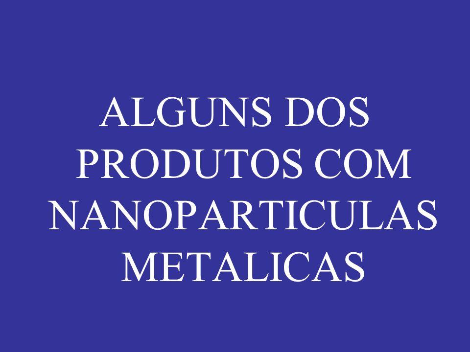 ALGUNS DOS PRODUTOS COM NANOPARTICULAS METALICAS