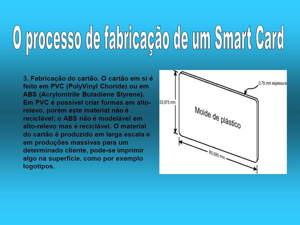 3. Fabricação do cartão. O cartão em si é feito em PVC (PolyVinyl Choride) ou em ABS (Acrylonitrile Butadiene Styrene). Em PVC é possível criar formas