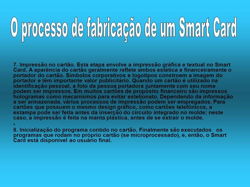 7. Impressão no cartão. Esta etapa envolve a impressão gráfica e textual no Smart Card. A aparência do cartão geralmente reflete ambos estética e fina