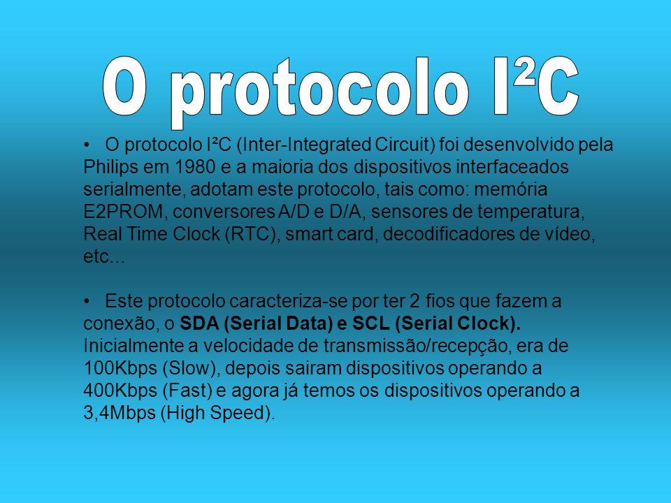 O protocolo I²C (Inter-Integrated Circuit) foi desenvolvido pela Philips em 1980 e a maioria dos dispositivos interfaceados serialmente, adotam este p
