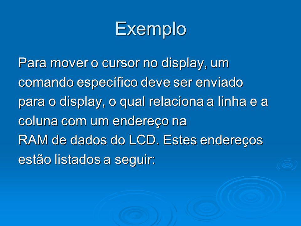 Exemplo Para mover o cursor no display, um comando específico deve ser enviado para o display, o qual relaciona a linha e a coluna com um endereço na