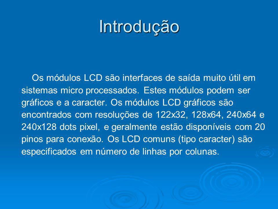 Introdução Os módulos LCD são interfaces de saída muito útil em sistemas micro processados. Estes módulos podem ser gráficos e a caracter. Os módulos