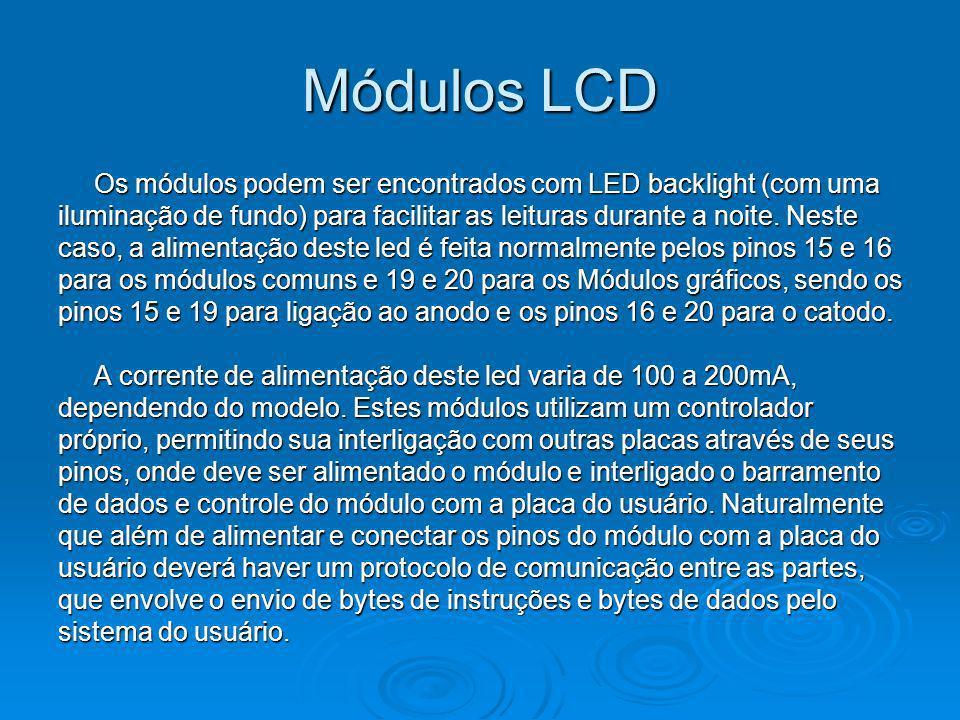 Módulos LCD Os módulos podem ser encontrados com LED backlight (com uma iluminação de fundo) para facilitar as leituras durante a noite. Neste caso, a