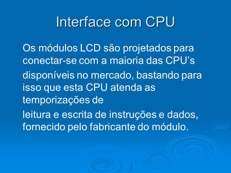 Interface com CPU Os módulos LCD são projetados para conectar-se com a maioria das CPUs disponíveis no mercado, bastando para isso que esta CPU atenda