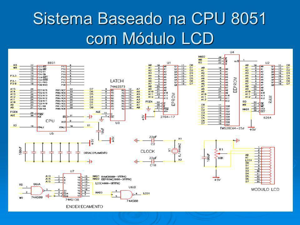 Endereçamento do Módulo LCD Na figura anterior Na figura anterior refere-se a conexão do módulo LCD com comunicação/transmissão de 8 bits, mas podemos conectar o módulo com transmissão a cada 4 bits.