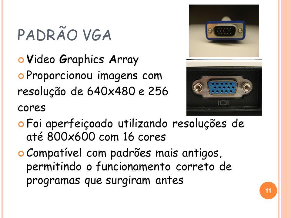 PADRÃO VGA Video Graphics Array Proporcionou imagens com resolução de 640x480 e 256 cores Foi aperfeiçoado utilizando resoluções de até 800x600 com 16
