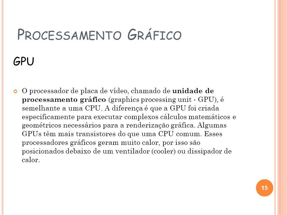P ROCESSAMENTO G RÁFICO GPU O processador de placa de vídeo, chamado de unidade de processamento gráfico (graphics processing unit - GPU), é semelhant
