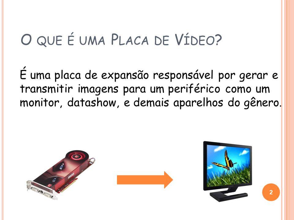 O QUE É UMA P LACA DE V ÍDEO ? É uma placa de expansão responsável por gerar e transmitir imagens para um periférico como um monitor, datashow, e dema
