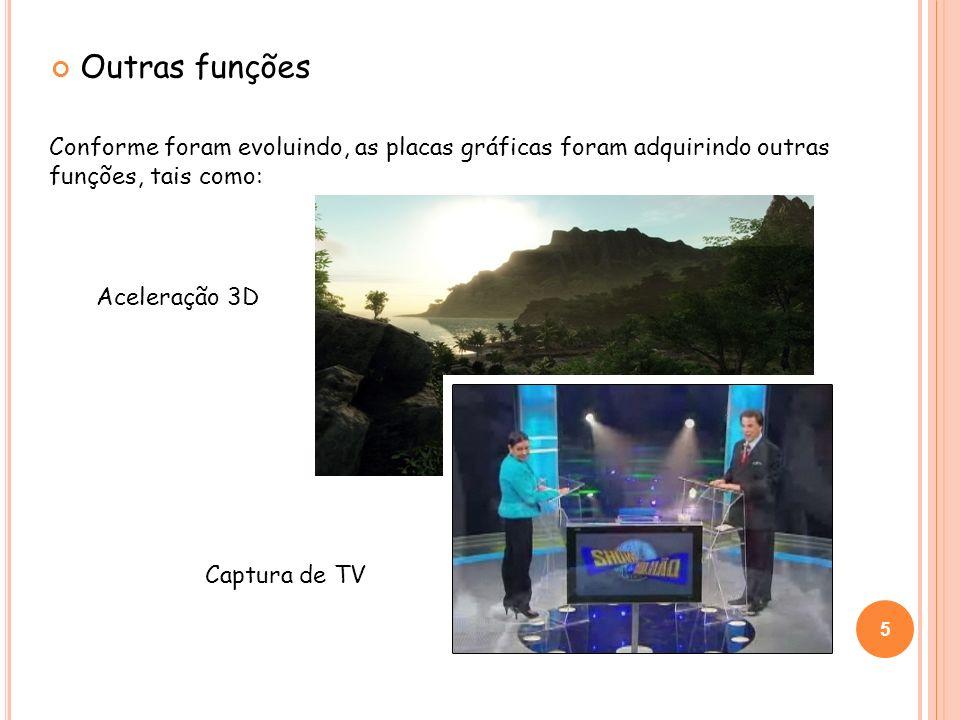 Outras funções Conforme foram evoluindo, as placas gráficas foram adquirindo outras funções, tais como: Aceleração 3D Captura de TV 5