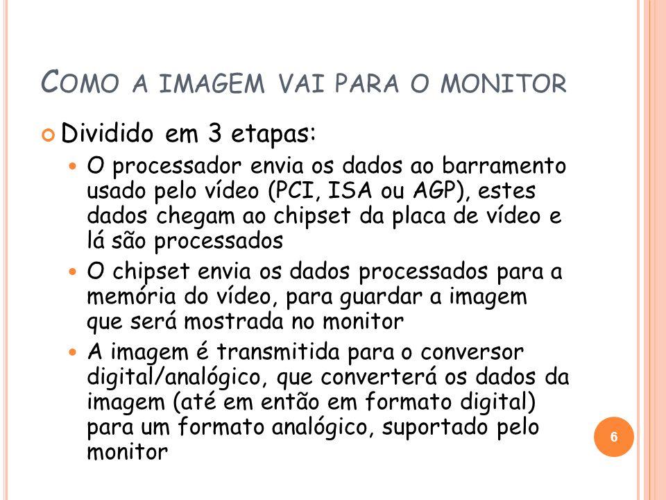 PADRÃO MDA Monochrome Display Adapter Foi introduzido em 1981 pela IBM Não possuía qualquer espécie de modo gráfico Apresentava apenas um modo texto monocromático que exibia 80 colunas por 25 linhas de caracteres Possuía 4kB de memória de vídeo 7